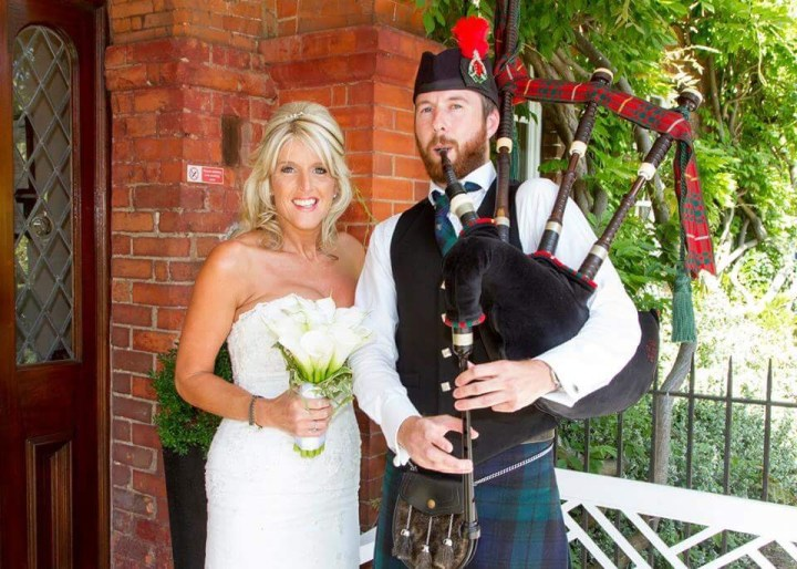 Image of Matthew McRae bagpiping with the beautiful bride to be in Essex