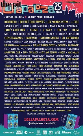 Lollapalooza announces 2016 lineup