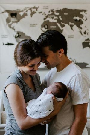 Newborn Family Photos mom dad and me