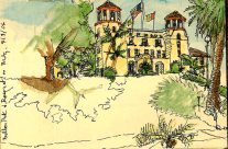 Pen and Wash Sketch of the San Diego Veteran's Museum