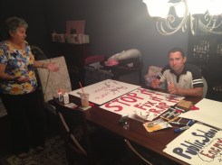Sign making on Friday night