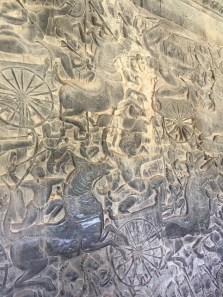 Intricate carvings inside Angkor Wat