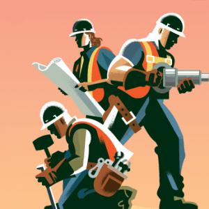 Drawing of three workers; Measure M is Approved!