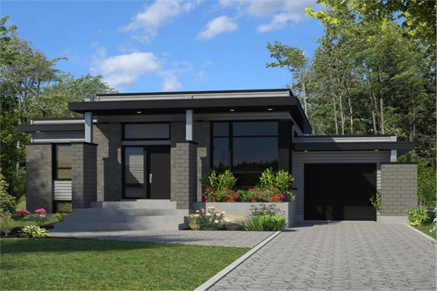 Contemporary House Plan #158-1263: 3 Bedrm, 1268 Sq Ft