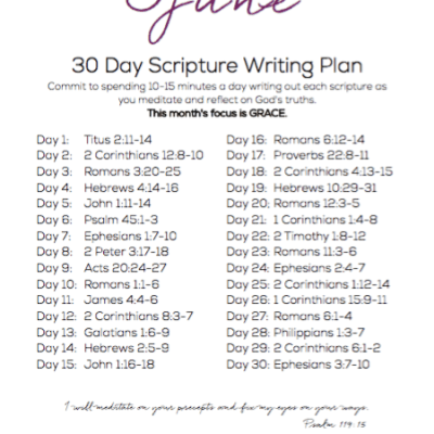 June Scripture Writing Plan