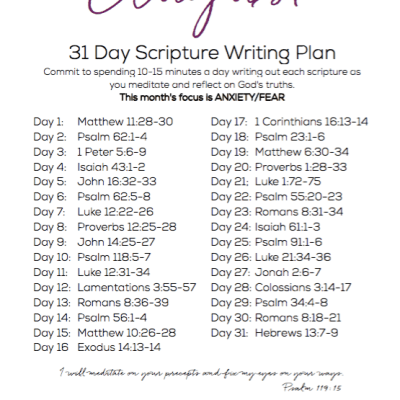 August Scripture Writing Plan