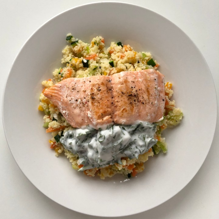 Salmon with Veggie Cous-Cous and Tzatziki Sauce
