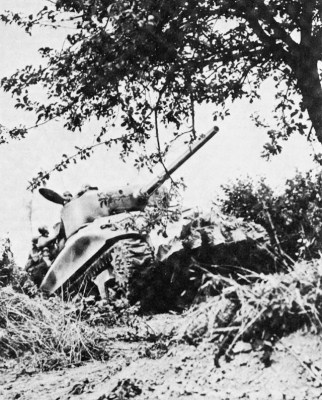 An M4 Sherman-based United States Rhino tank crashes through a hedgerow.