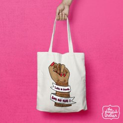 life is tough tote bag with handle