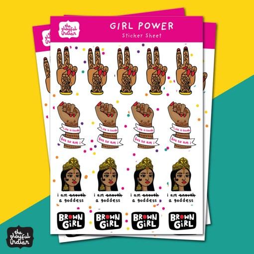 girl power sticker sheet
