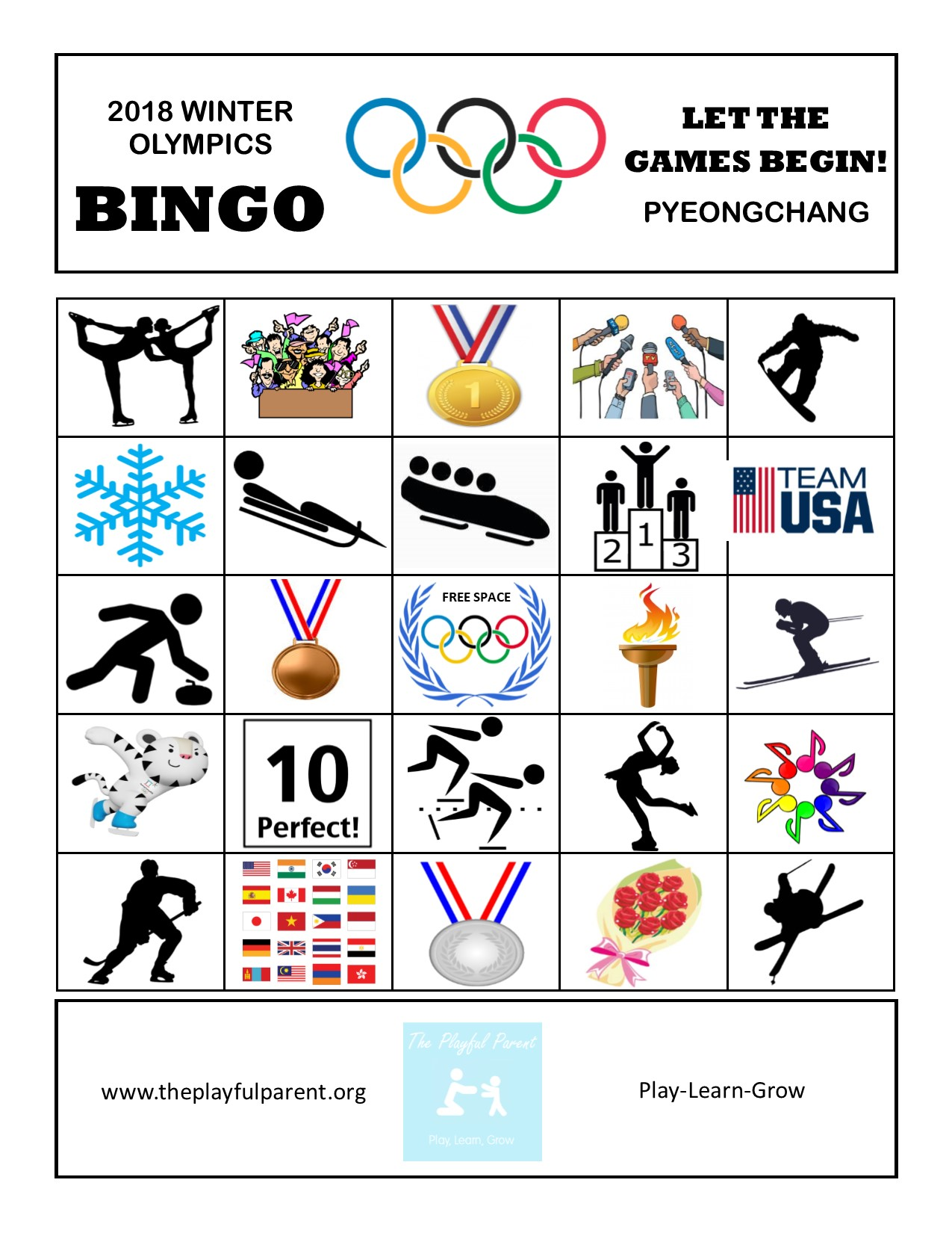image regarding Winter Bingo Cards Free Printable named No cost PRINTABLE Winter season OLYMPIC BINGO