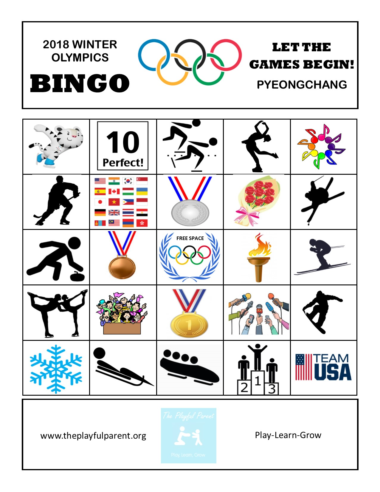 graphic about Winter Bingo Cards Free Printable named Totally free PRINTABLE Winter season OLYMPIC BINGO