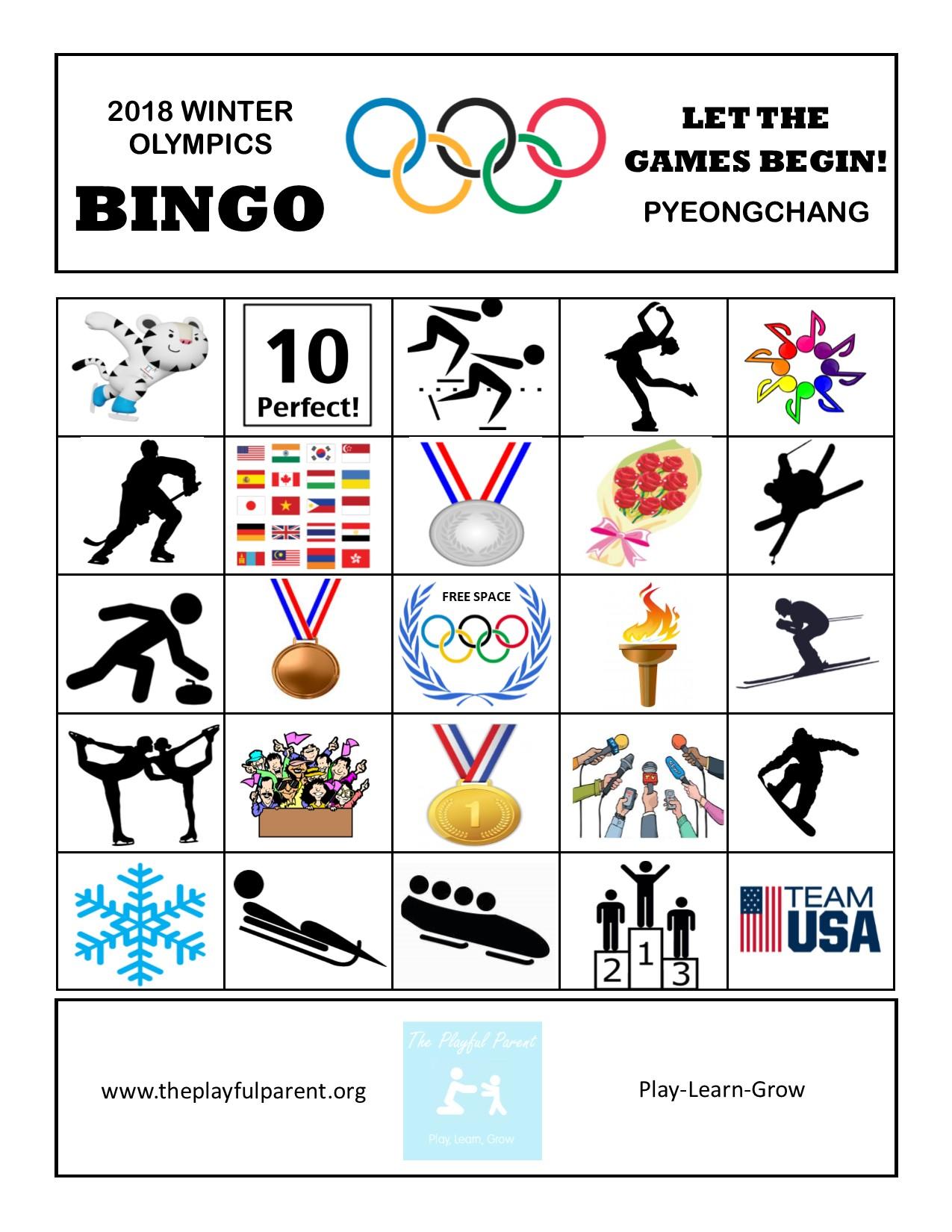 graphic about Winter Bingo Cards Free Printable named Totally free PRINTABLE Winter season OLYMPIC BINGO