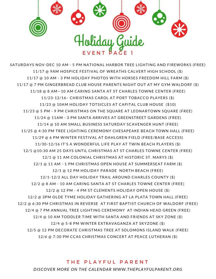 HOLIDAY GUIDE 2018- EVENTS PAGE 1