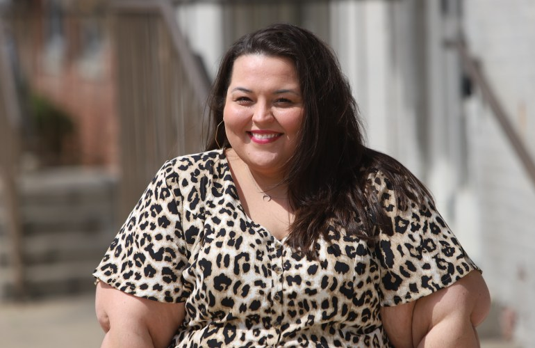 Beauticurve X Lane Bryant Leopard Print Maxi and Lane Bryant Geometric Hoop Earrings on Miranda Schultz of The Plus Life Blog