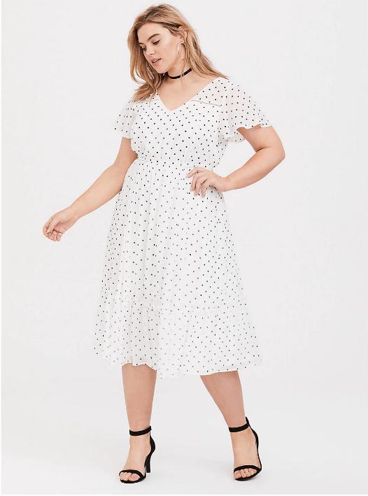 White Polka Dot Chiffon Midi Dress available in sizes 10-30 on Torrid.com