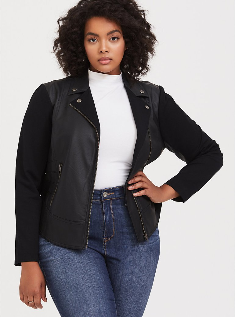 Fall 2019 Fashion Trends - Leather - Ponte & Faux Leather Moto Jacket
