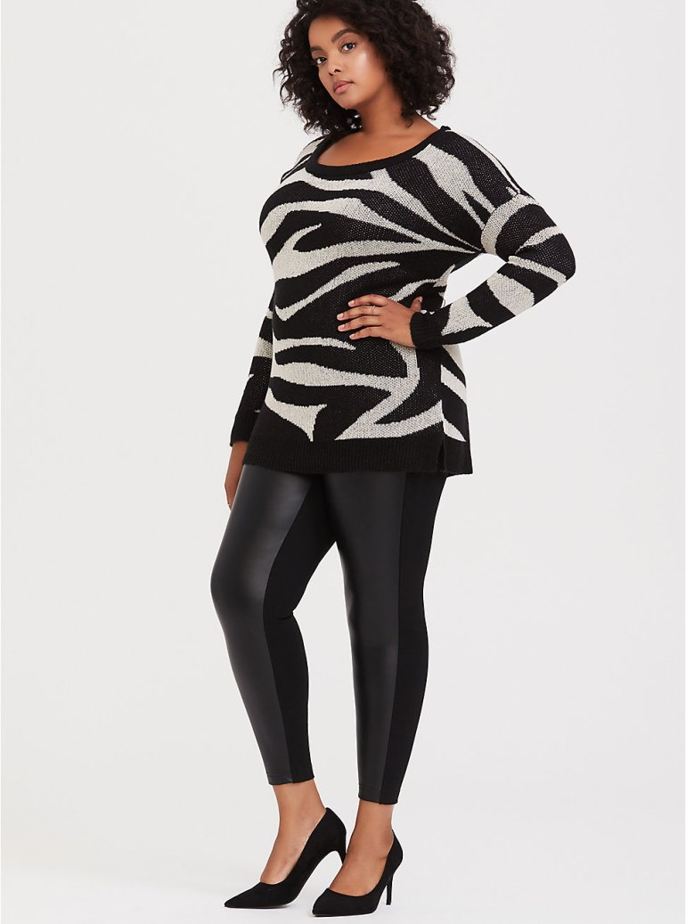 Fall 2019 Fashion Trends - Leather - Faux Leather and Ponte Knit Pixie Pant