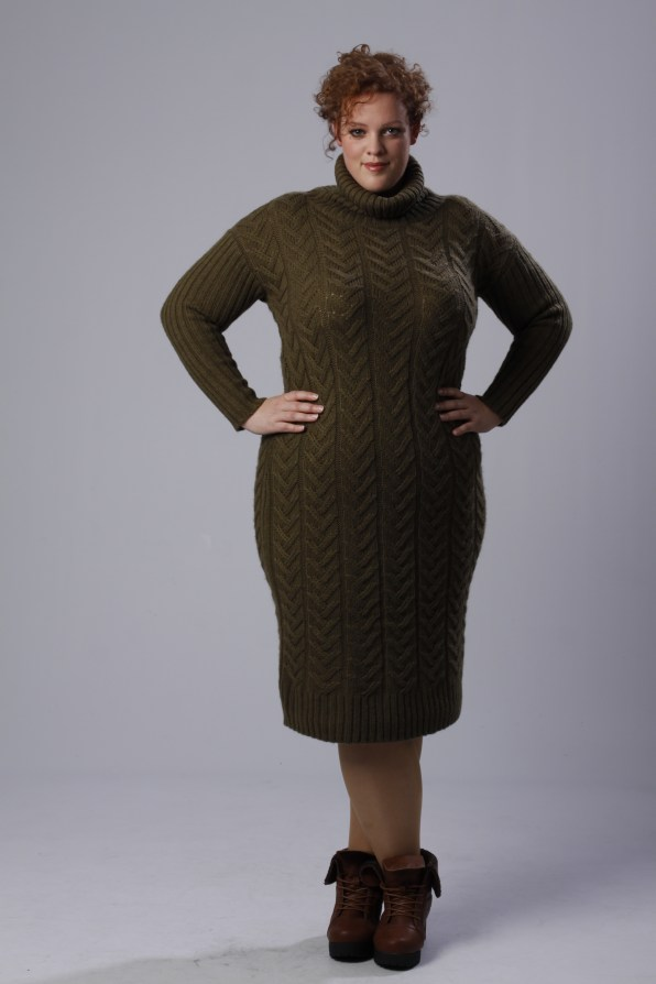 plus size knitted sweater dress by Alice & you and boots wit fur detail by Yours Clothing UK