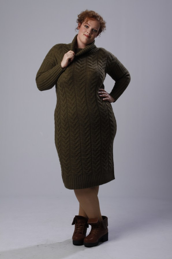 plus size knitted sweater dress Alice & You and boots with fur detail by Yours Clothing UK