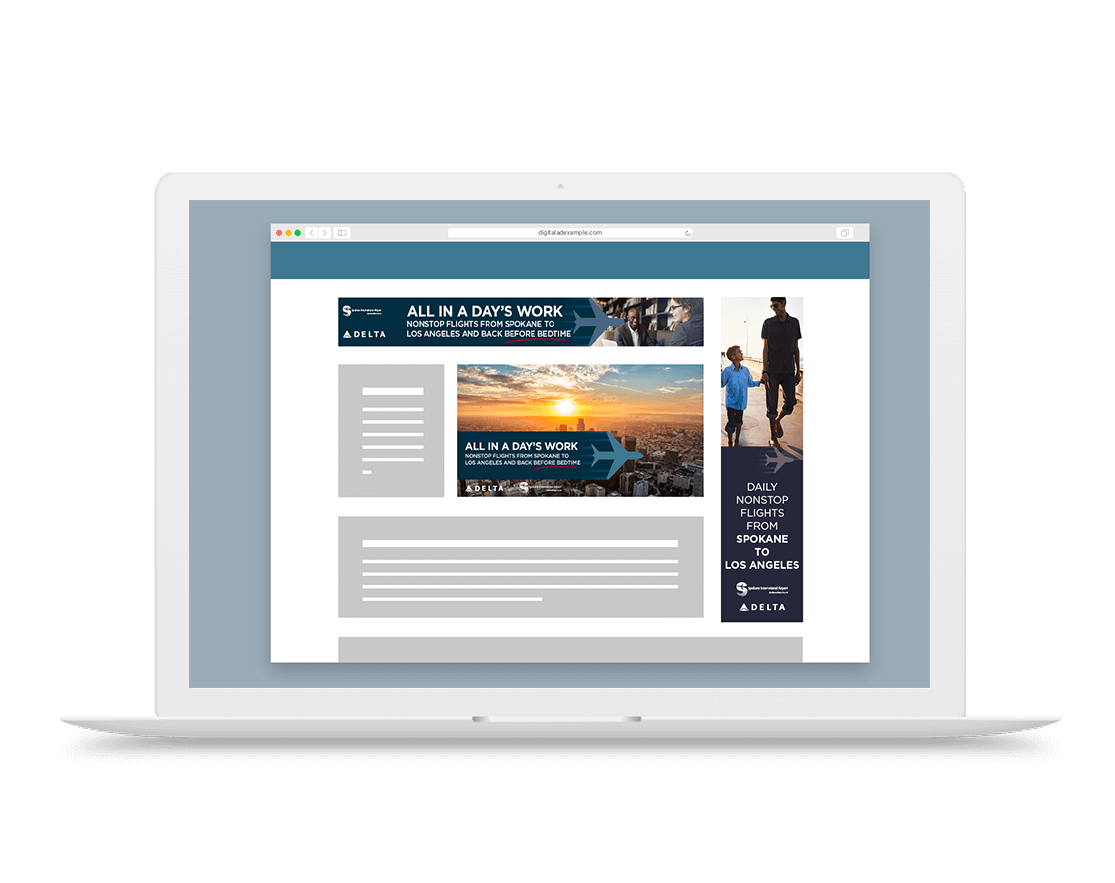 Spokane International Airport and Delta Airlines display advertising examples