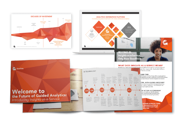 print, presentation and sales collateral examples for GoodData featuring orange geometric shapes