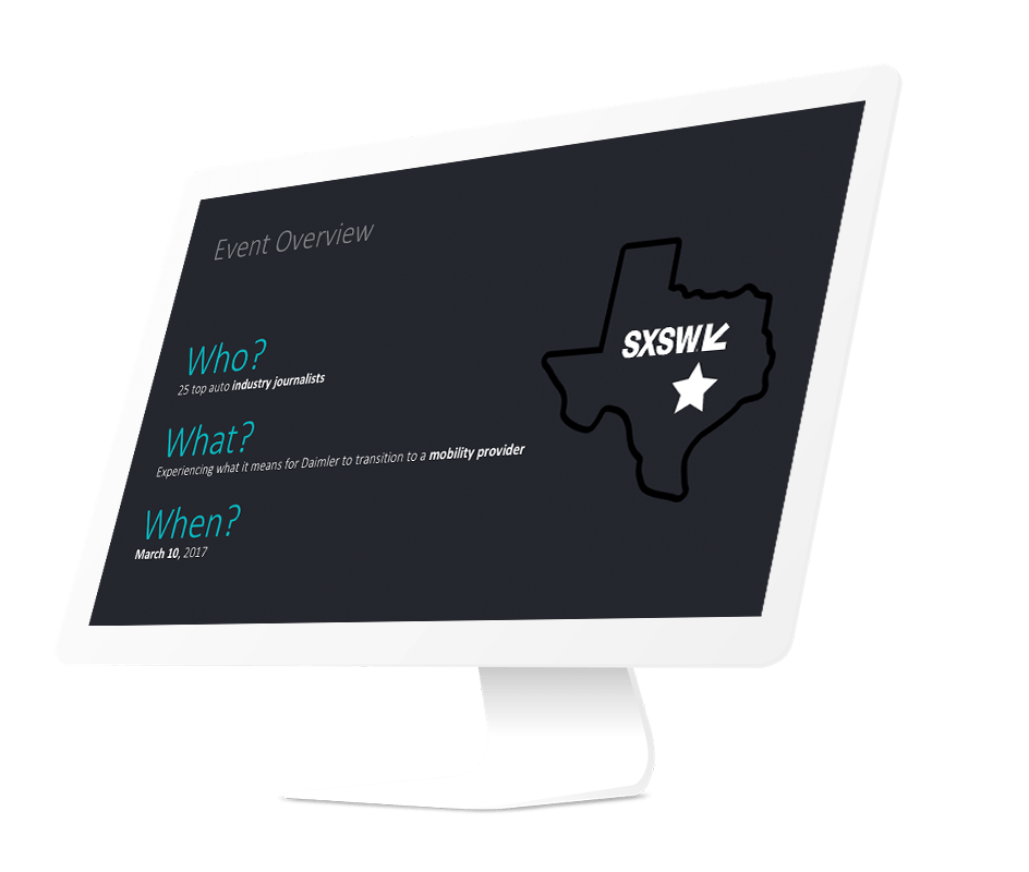 Moovel Presentation example for an event overview for SXSW