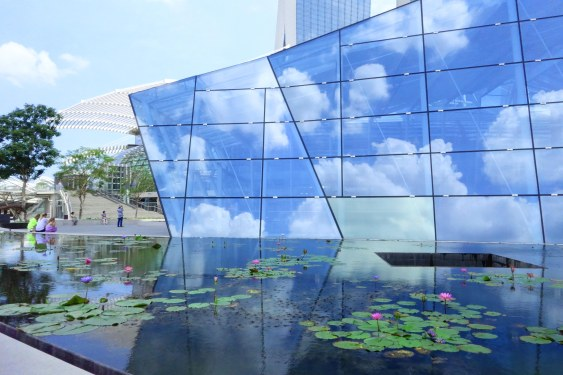 Facade of the Art and Science museum, reflecting the clouds :)