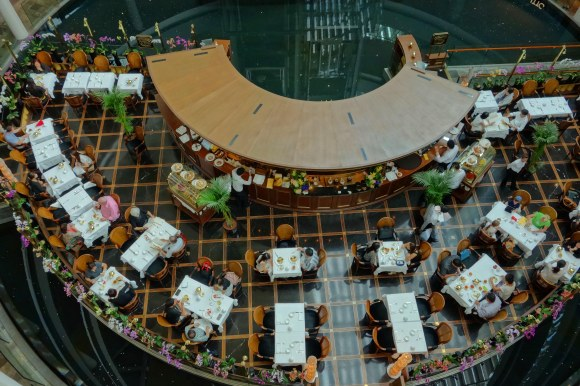 Top view of a restaurant in a mall.