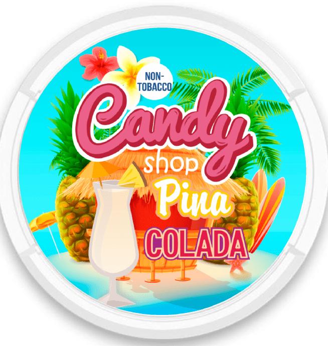 candy shop pina colada nicotine pouches snus nicopods the pod block