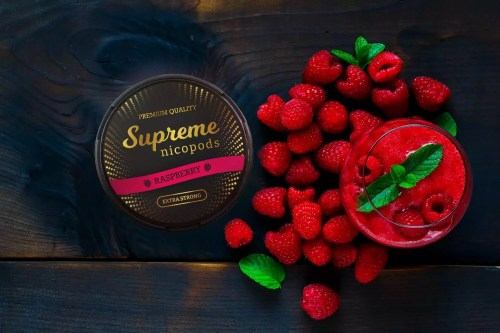 Supreme raspberry nicotine pouches snus nicopods the pod block