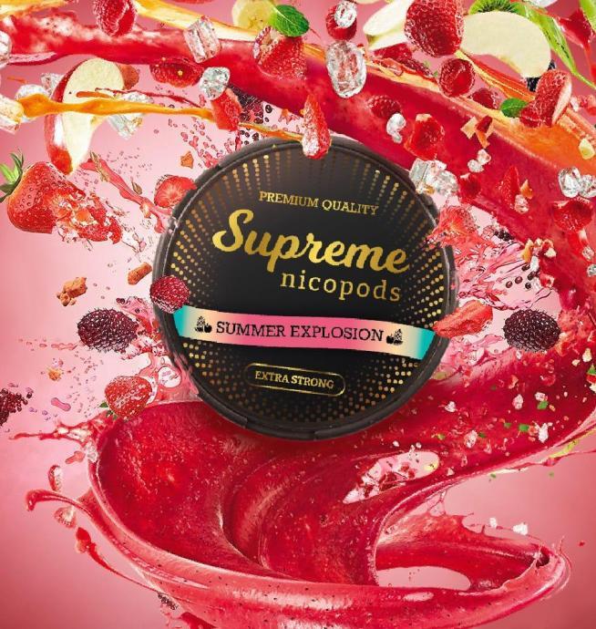 Supreme summer explosion nicotine pouches snus nicopods the pod block