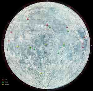 The green dots in this image indicate locations of Apollo landings on the moon (Photo Credit: NASA).