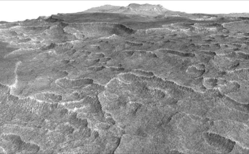 An image taken using the SHARAD, which demonstrates the depressions on Mars where researchers checked for buried ice (Photo Credit: NASA/JPL-Caltech/Univ. of Arizona).
