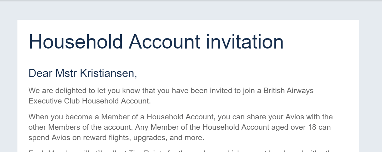 The invite sent to my newborn to join my BA Household Account