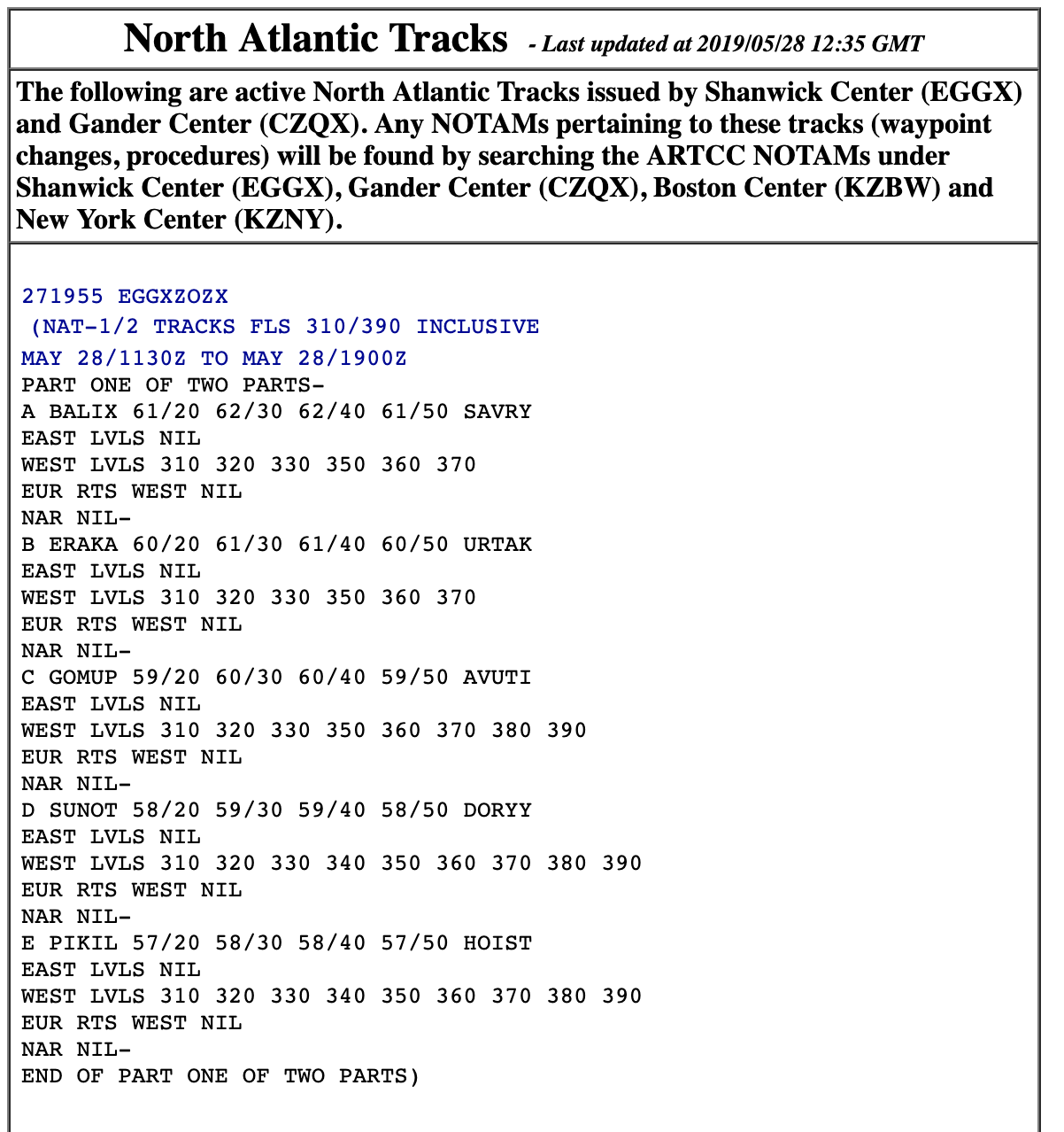 The Track Message Indicator tells pilots which tracks are valid for their flight.
