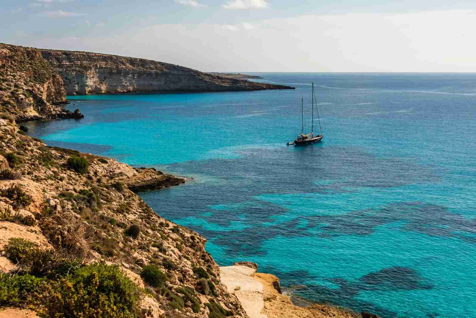 Rabbit Beach in Lampedusa, Pelagie Islands.(Photo by Vansky / Shutterstock
