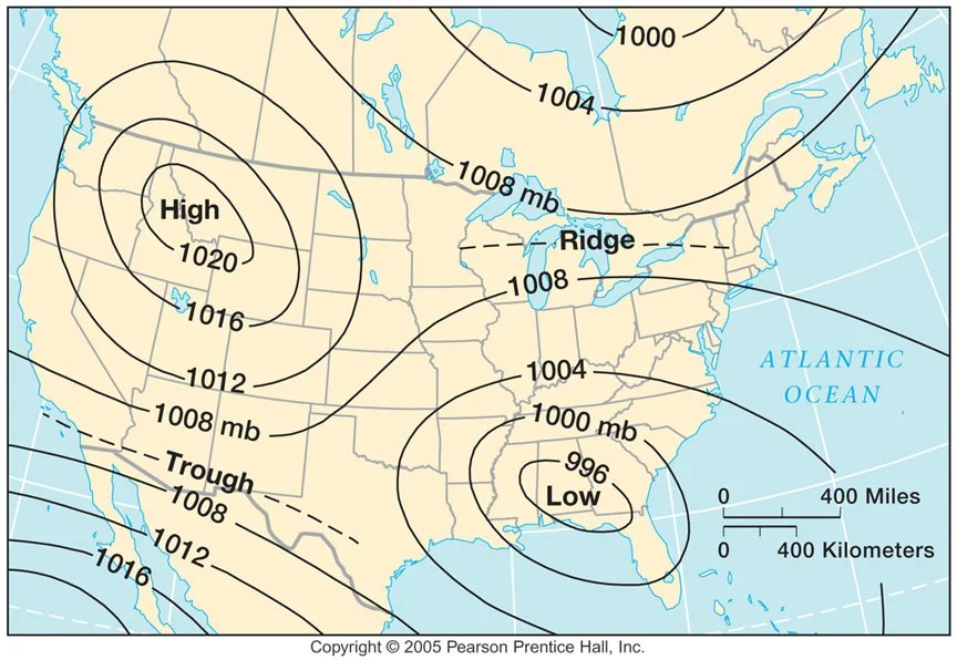 Charts like this show pilots areas of high and low pressure (Image courtesy web.gccaz.edu)