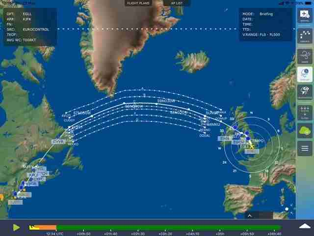 The westbound Organised Track System for a flight from London to New York (Image by Charlie Page/The Points Guy)