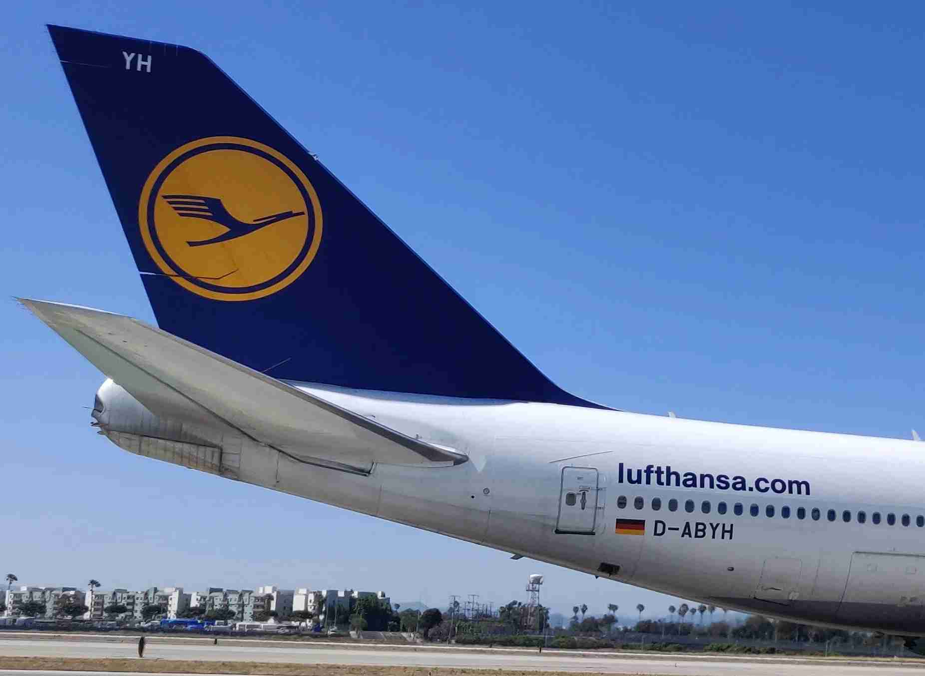 The outflow valve on this Lufthansa 747 can be seen just below the German flag