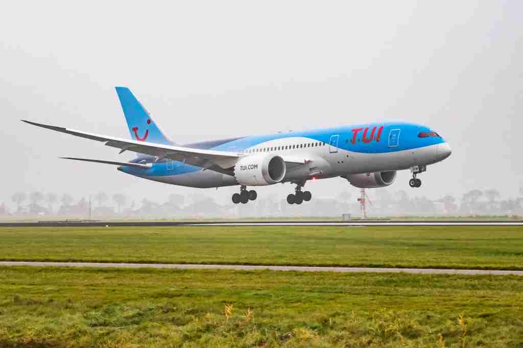 TUI Airlines Netherlands Boeing 787-8 Dreamliner landing in the mist in Amsterdam Schiphol International Airport. The aircraft registration is PH-TFM. TUI uses Amsterdam Airport as a hub and connects Amsterdam to popular tourist destinations. (Photo by Nicolas Economou/NurPhoto via Getty Images)