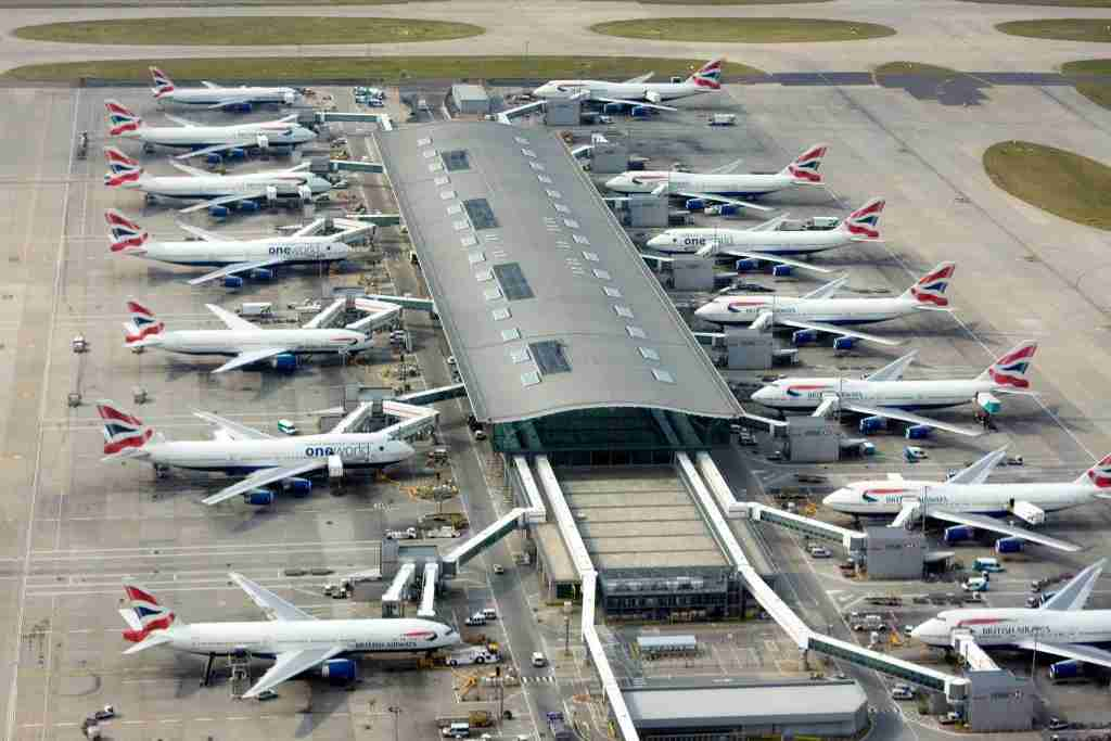 [UNVERIFIED CONTENT] Aerial view of one of Terminal 5 buildings of London Heathrow Airport and Boeing 747 and 777 aircrafts operated by British Airways at the gates on Wednesday, June 26, 2013. (Photo by Grzegorz Bajor/Getty Images)