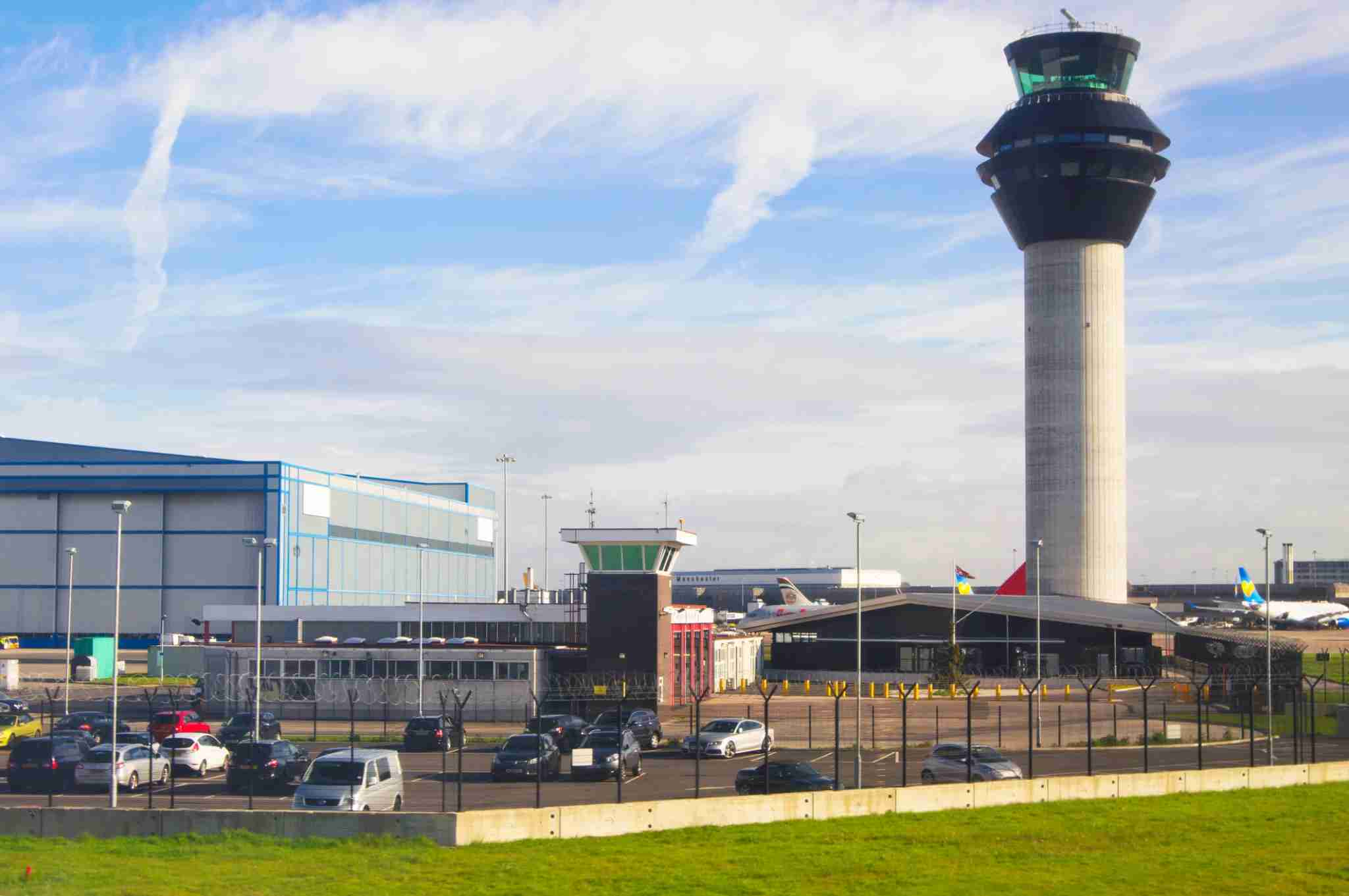 Control tower and terminal buildings at Manchester International Airport, UK. (Photo by Mark Williamson/Getty Images)