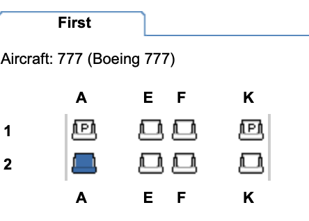 First class on the refurbished British Airways B777-200 / Image taken from Expertflyer.com