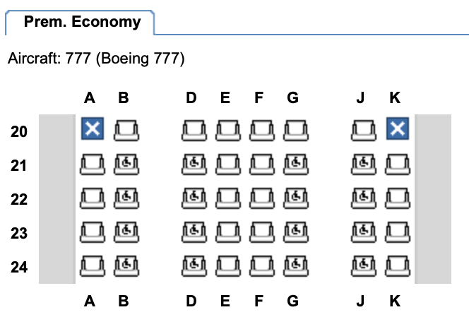 Premium Economy on the refurbished British Airways B777-200 / Image taken from Expertflyer.com