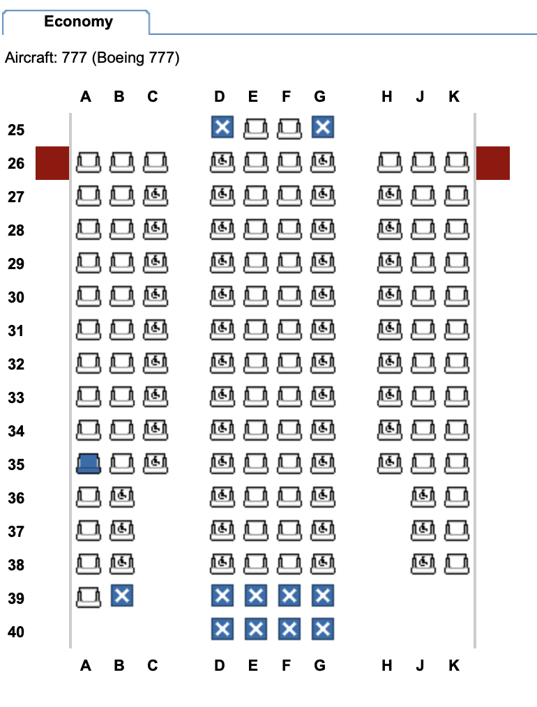 Economy class on the refurbished British Airways B777-200 / Image taken from Expertflyer.com