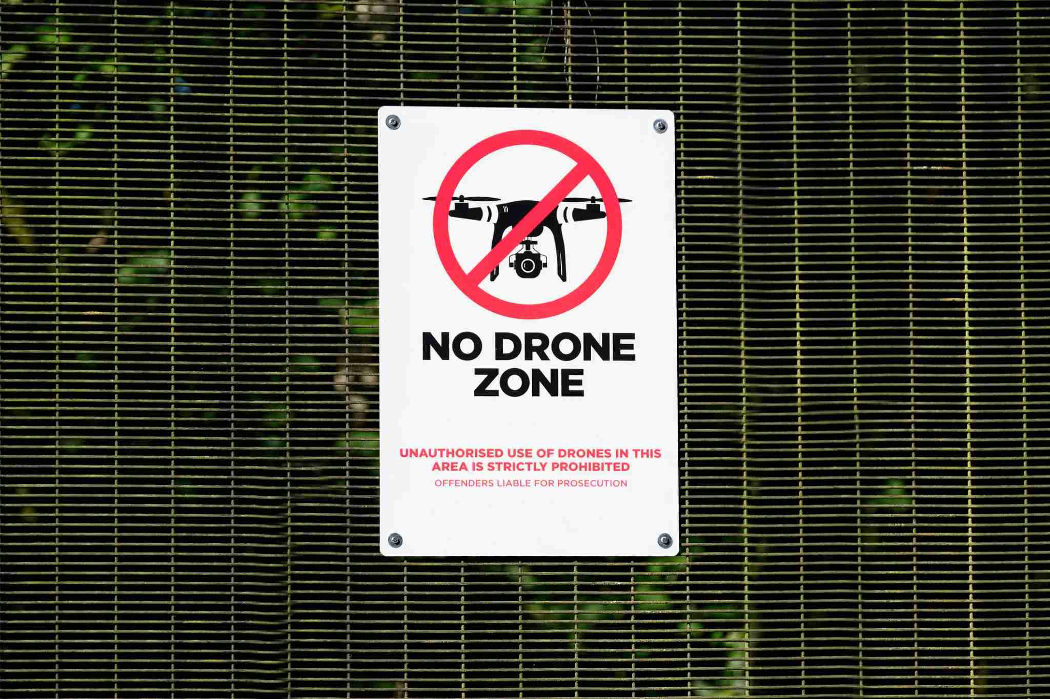 No drone zone sign not allowing flying of quadcopter at military police site near airport uk (Photo by Richard Johnson/Getty Images)