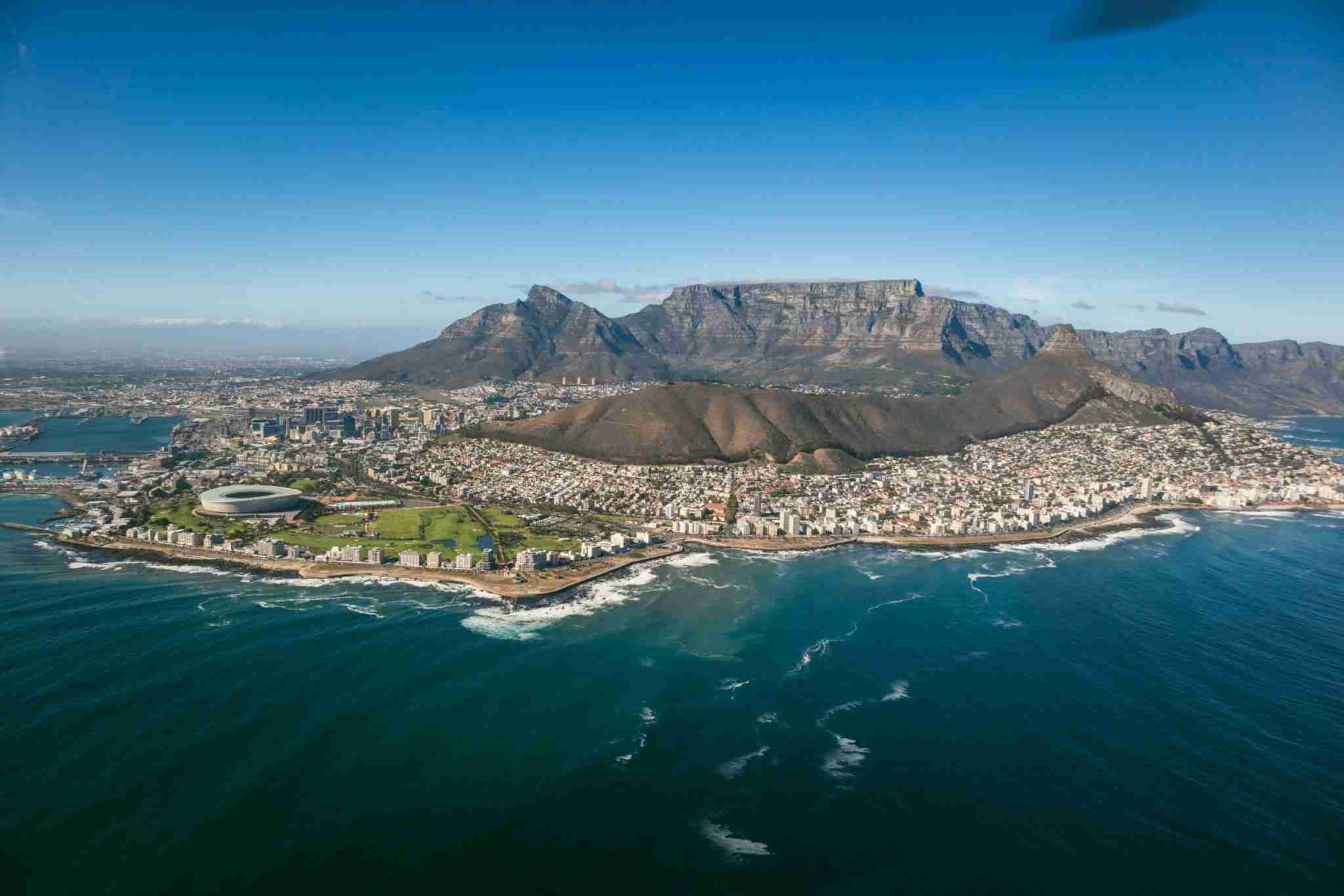 An Aerial view of Cape Town, South Africa (Photo by Christopher Loh/Getty Images)