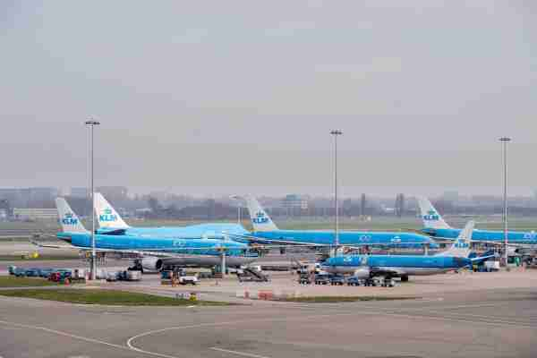 Aircraft operated by Air France-KLM sit on the tarmac at Schiphol Airport, operated by the Royal Schiphol Group, in Amsterdam, Netherlands, on Saturday, March. 14, 2020. Airlines, hotels and cruise operators are beginning to dip into $73 billion of back-up cash facilities and new loans, as the coronavirus hammers global travel demand. Photographer: Geert Vanden Wijngaert/Bloomberg via Getty Images