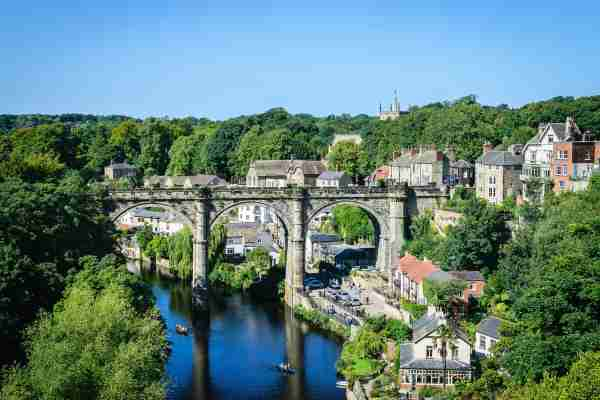 View of Railway viaduct over the River Nidd, Knaresborough, North Yorkshire, England. UK. (Photo by Kapook2981/Getty Images)